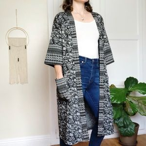 Umgee Boho Cardigan Long Black and Cream S/M